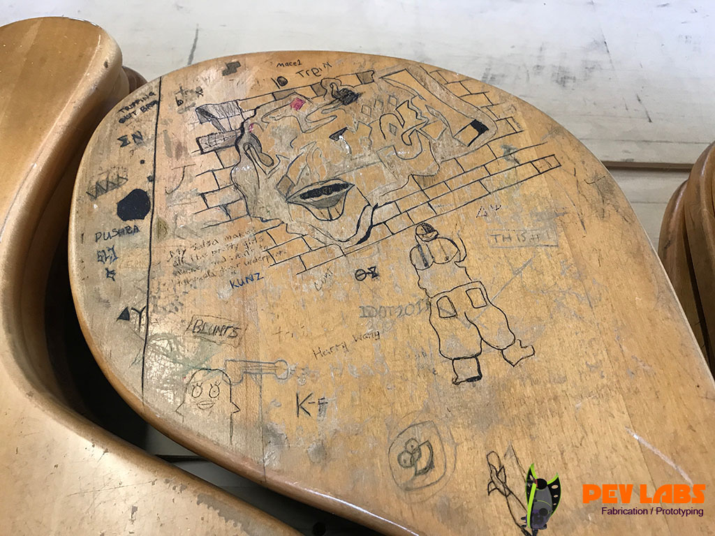 UVA Desks with Sample Graffiti
