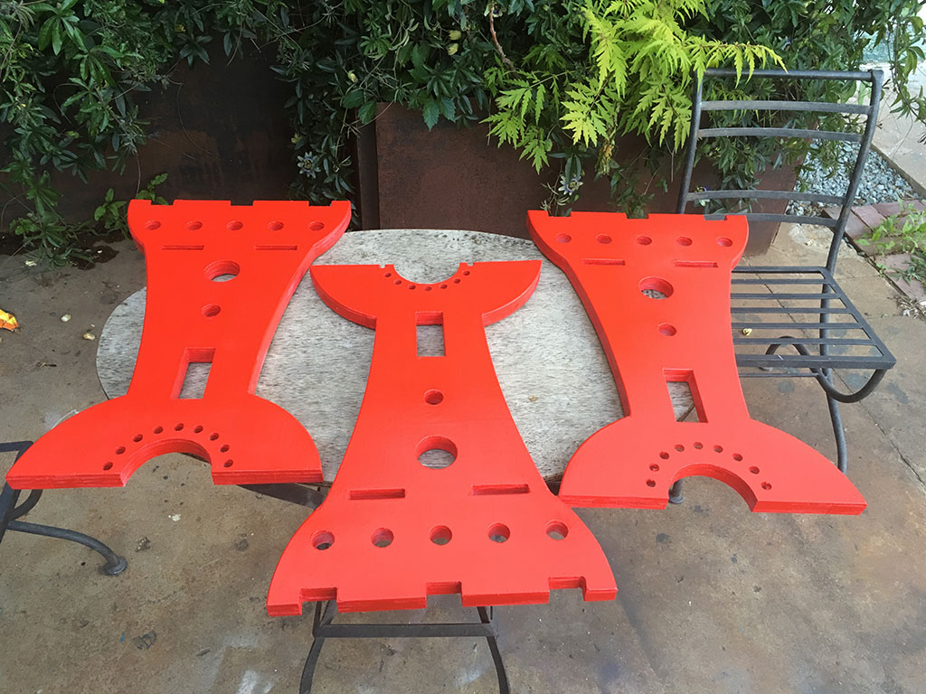 CNC Milled Table Legs Painted Red