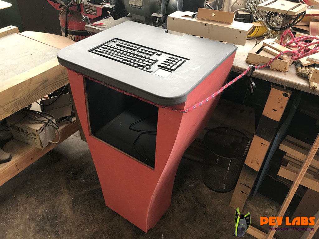 Black and Red MDF Kiosk