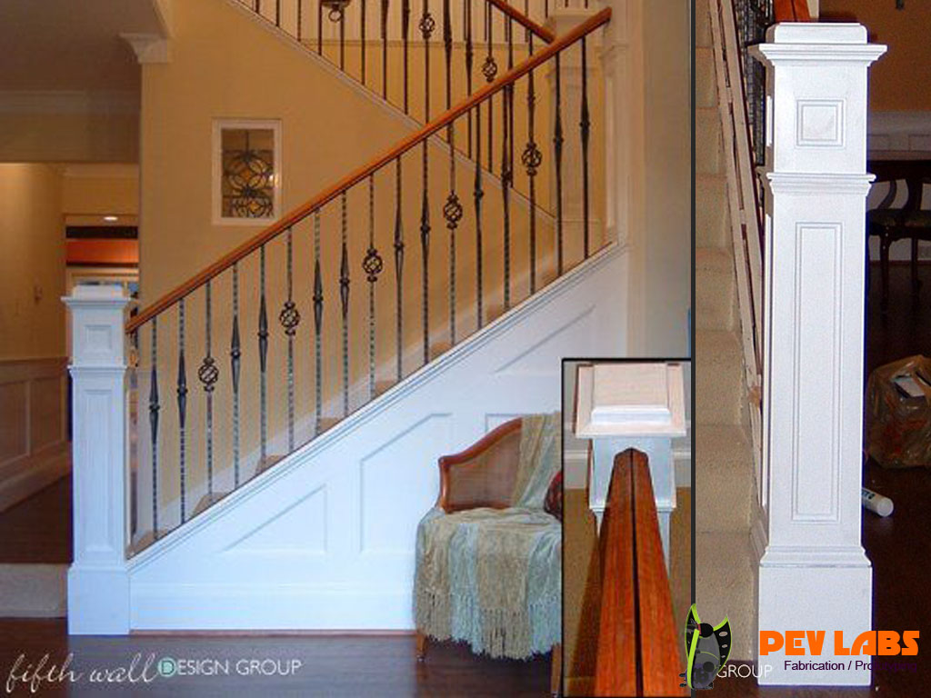 Custom Stair Rail and Newel Post Woodworkign Project